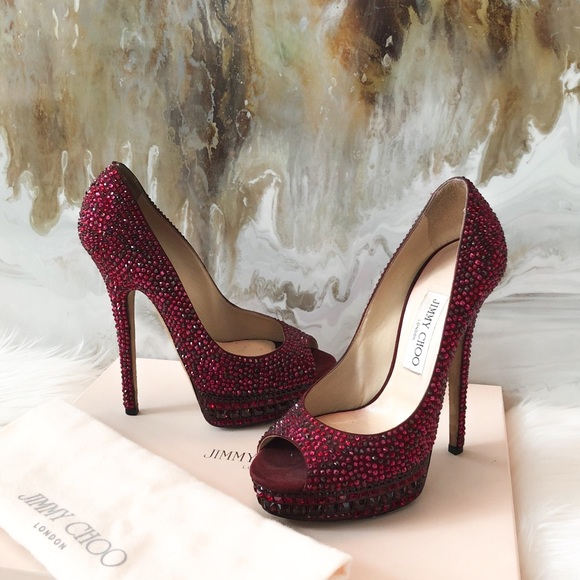 a94e9ce3c2 Jimmy Choo Shoes | Red Swarovski Crystal Kendall Heels 38 | Poshmark